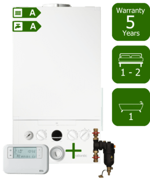 Ideal Atlantic 24kW Combination Boiler with Smart System Filter & ESi Room Thermostat