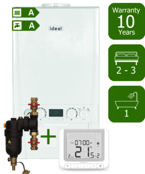 Ideal Logic Plus 30kW Combination Boiler with Smart System Filter & Salus RT520RX Room Thermostat