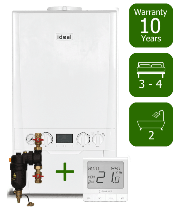 Ideal Logic Plus 35kW Combi Boiler with Smart System Filter & Salus Quantum wireless programmable thermostat