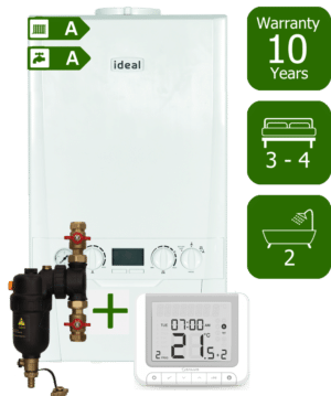Ideal Logic Plus 35kW Combination Boiler with Smart System Filter & Salus RT520RX Room Thermostat