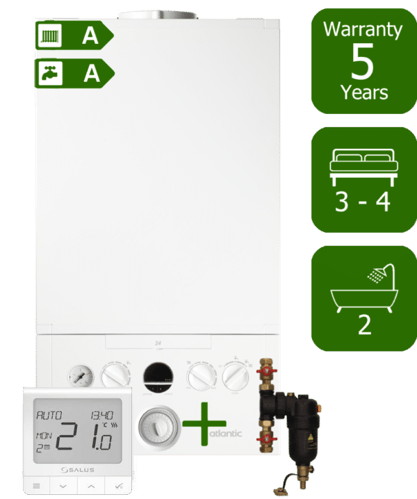 Ideal Atlantic 35kW Combi Boiler with Smart System Filter & Salus Quantum wireless programmable thermostat