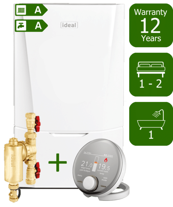 Ideal Vogue Max C26kW Combination Boiler with Ideal System Filter & Ideal Halo RF Room Thermostat