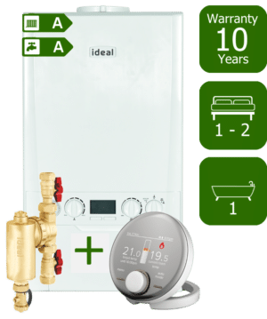 Ideal Logic Max 24kW Combination Boiler with Ideal System Filter & Ideal Halo RF Room Thermostat