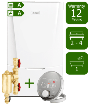 Ideal Vogue Max C32kW Combination Boiler with Ideal System Filter & Ideal Halo RF Room Thermostat
