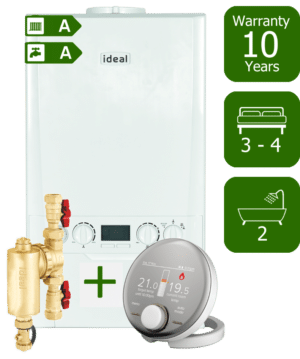 Ideal Logic Max 35kW Combination Boiler with Ideal System Filter & Ideal Halo RF Room Thermostat