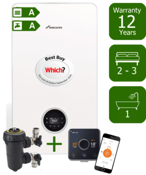 Worcester Bosch Greenstar 8000 Life 30kW Combination Boiler with Worcester Bosch System Filter & Hive Active Heating Wireless & Internet-Enabled Programmable Room Thermostat