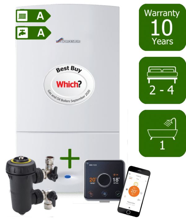 Worcester Bosch Greenstar CDi Compact 32kW Combination Boiler with Worcester Bosch System Filter & Hive Active Heating Wireless & Internet-Enabled Programmable Room Thermostat